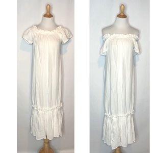 NWT Zara Cotton Boho Maxi Dress  On/Off Shoulder m